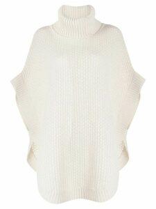 N.Peal waffle knit cape jumper - Neutrals