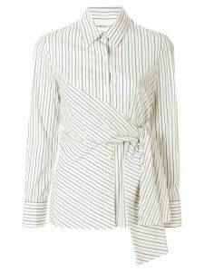 PortsPURE striped side tie shirt - White
