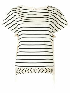 PortsPURE striped high low T-shirt - White