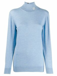 Loewe logo detail turtleneck top - Blue