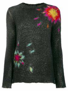 Avant Toi felt flower sweater - Black