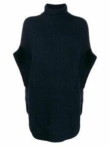 N.Peal waffle knit cape jumper - Blue