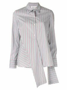 PortsPURE striped asymmetric detail shirt - Grey