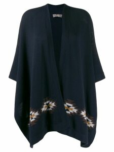 N.Peal jacquard knit cape cardigan - Blue