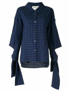 PortsPURE tied cuffs checked shirt - Blue