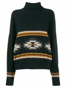 N.Peal jacquard roll neck jumper - Blue