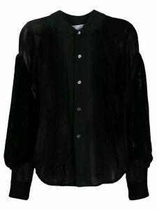 Comme Des Garçons Comme Des Garçons sheer velvet-sleeves shirt - Black