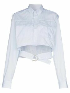 Situationist cropped belted shirt - Blue
