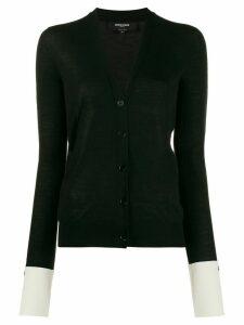 Rochas contrast cuff cardigan - Black