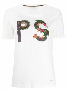 PS Paul Smith Embellished PS-print T-shirt - White