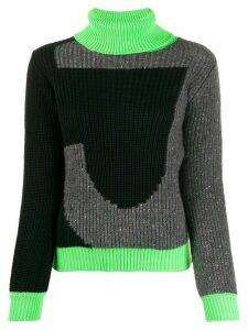 Just Cavalli colour blocked roll neck jumper - Black