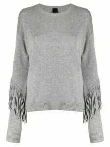 Pinko fringed trim jumper - Grey