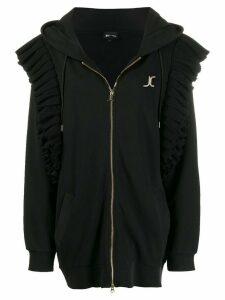 Just Cavalli ruffle trim zip hoodie - Black