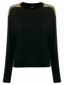 Pinko sequin panel long-sleeve jumper - Black