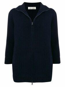 Lamberto Losani zip-front ribbed knit cashmere cardigan - Blue
