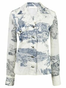 Chloé printed sheer-panels blouse - White