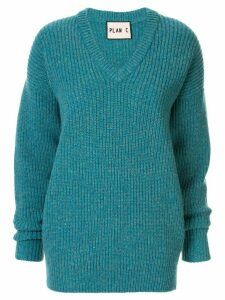 Plan C longline chunky knit jumper - Blue