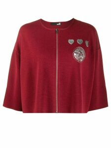 Love Moschino silver-plaque knit cardigan - Red