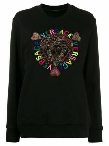 Versace embellished Medusa logo embroidered sweatshirt - Black
