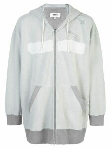 Mm6 Maison Margiela distressed effect zipped hoodie - Grey