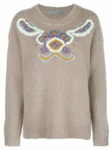 Raquel Allegra oversized graphic intarsia jumper - Grey