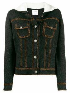 Barrie Sherpa collar cardigan - Black