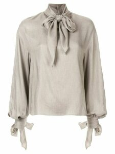 Le Ciel Bleu check scarf-detail blouse - Grey