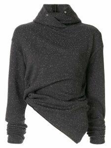 Irene hooded nep jersey top - Grey