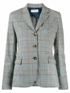 Alberto Biani check-pattern fitted blazer - Blue