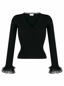 Alexander McQueen lace trimmed V-neck jumper - Black