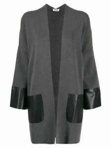 LIU JO oversized contrast panel cardigan - Grey