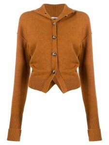 Chloé ruched turtleneck cardigan - Brown