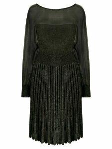 Alberta Ferretti pleated metallic knit dress - Black