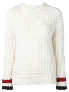 Thom Browne Waffle Stitch Crewneck Pullover - White