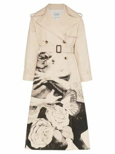 Valentino x Undercover Graphic Lovers print trench coat - NEUTRALS