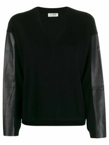 Twin-Set faux leather-panelled jumper - Black