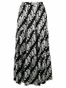 Andrew Gn geometric flared maxi skirt - Black
