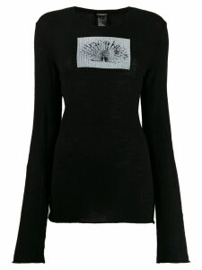 Ann Demeulemeester ribbed peacock top - Black