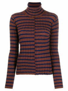 Nude striped roll neck top - Brown
