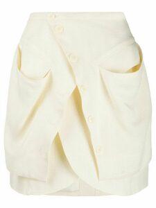 Jacquemus asymmetric mini skirt - White