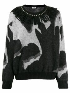 LIU JO fringe-neck knit sweater - Black