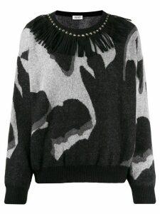 LIU JO fringe-neck knit sweater - Black