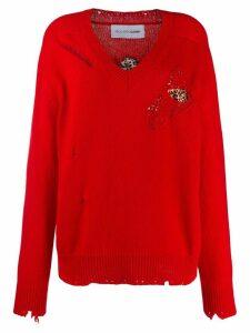 Riccardo Comi distressed jumper - Red