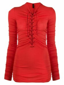 Unravel Project lace-up ruched top - Red