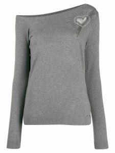 LIU JO rhinestone logo knit sweater - Grey