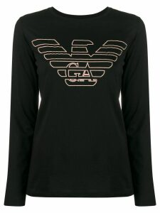 Emporio Armani textured logo long-sleeve T-shirt - Black