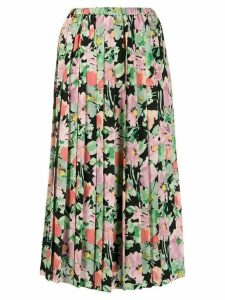 Junya Watanabe floral print pleated skirt - Black