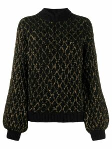 Stine Goya contrast cable knit jumper - Black