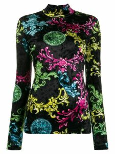 Versace Jeans Couture baroque-print mock-neck jumper - Black