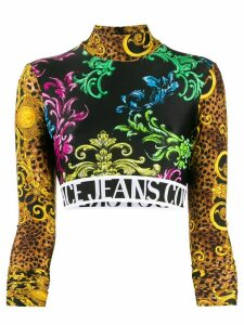 Versace Jeans Couture baroque long-sleeve cropped jumper - Black